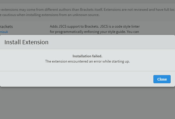 Installation failed in Brackets