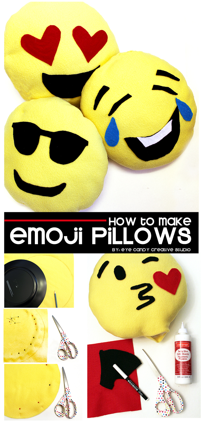how to make emoji pillows, emoji party, emoji party craft, emoji sleepover