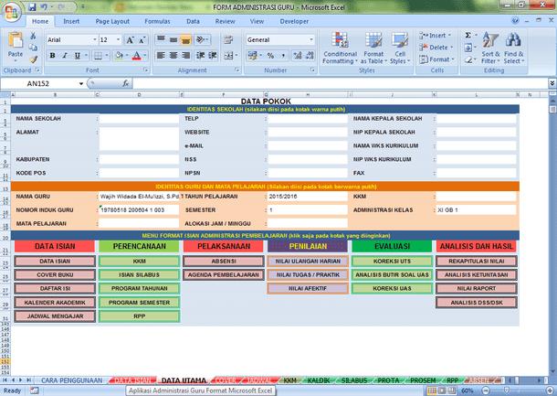 Aplikasi Administrasi Guru Mata Pelajaran Format Microsoft Excel