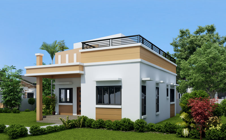 One storey house with roof deck living rooms gallery for 3 story house plans with roof deck