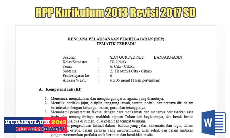 Contoh Format RPP Kurikulum 2013 Revisi 2017 SD
