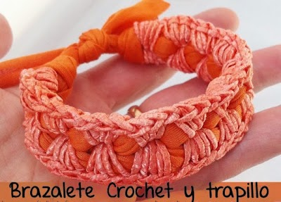 Brazalete de Crochet y Trapillo Tutorial