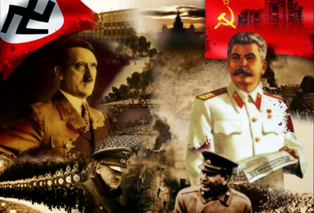 Гитлер и Сталин на фоне знамён