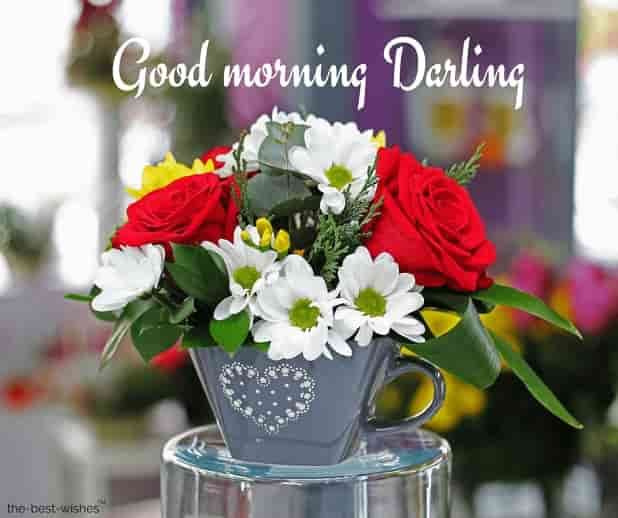 good morning darling with flowers