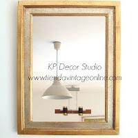 Comprar espejo de madera antiguo con marco cuadrado dorado con pan de oro.