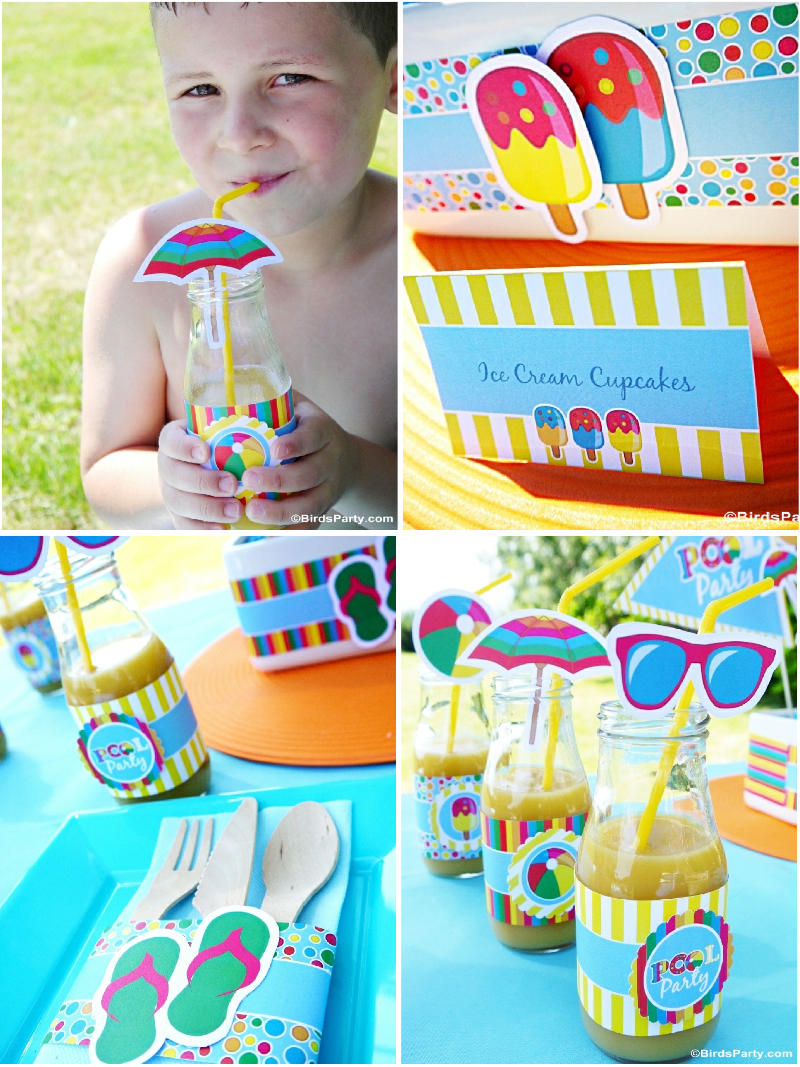Pool Party Kids Ideas pool party food ideas for kids Pool Party Ideas Printables Kids Summer Birthday Birdspartycom