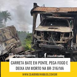Carreta bate em ponte, pega fogo e deixa um morto na BR-316/MA
