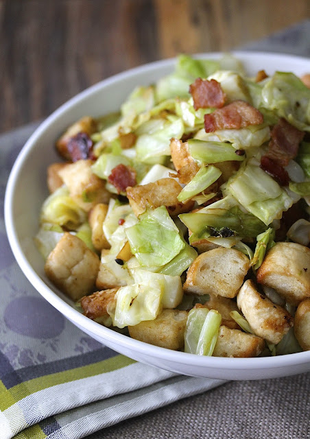 Stir-Fried Bagels with Cabbage and Bacon from Karen's Kitchen Stories