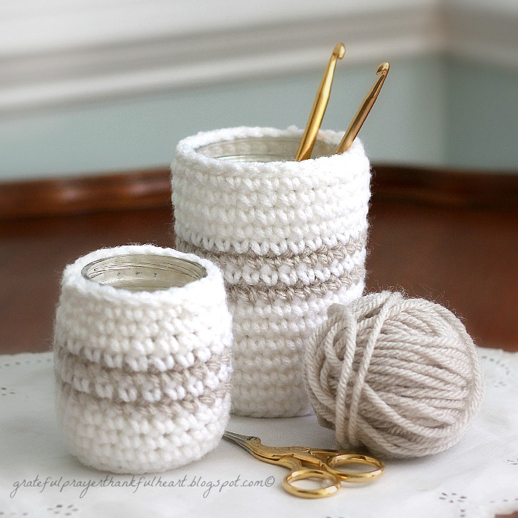 Crochet Cozy For Jars Or Cans Grateful Prayer Thankful Heart