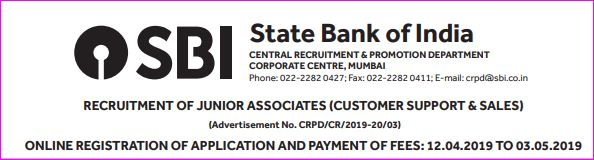 SBI Clerk (JA) 2019 Recruitment Notification (8593 Vacancy)