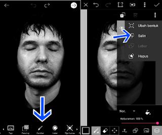 Edit foto picsart wajah terbelah