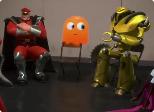 Pac Man at the villains support group meeting in Wreck-It Ralph animatedfilmreviews.filminspector.com