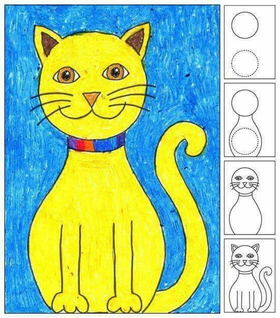 Belajar menggambar kucing untuk anak-anak