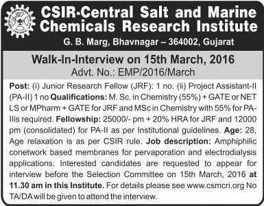 CSRI-CSMCRI JRF and Project Assistant Recruitment 2016