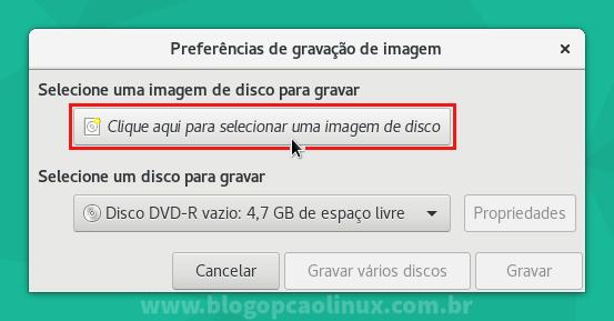 Clique no local indicado para procurar e selecionar a imagem ISO