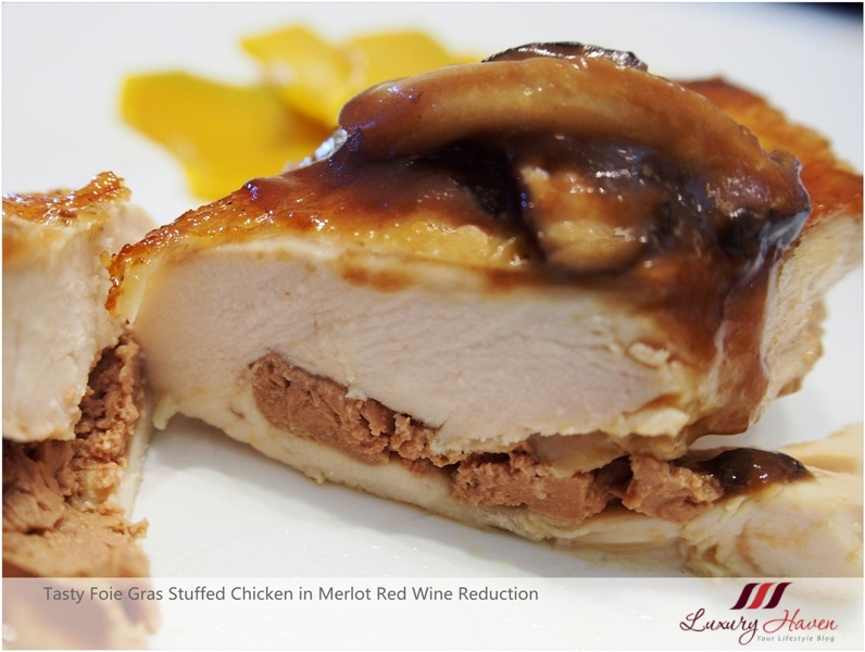foie gras stuffed chicken merlot red wine reduction