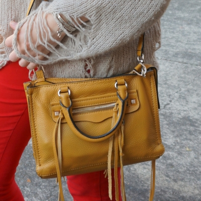 Red skinny jeans, Rebecca Minkoff micro Regan satchel in Harvest Gold | Away From The Blue