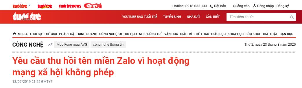Zalo bị pháp luật trừng phạt