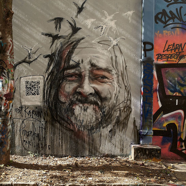 Hera and Akut from Herakut recently visited Paris to create a new piece for the launch of a non-profit campaign Proj 256. Known for their social engagement worldwide, German art duo painted a portrait of a local homeless man Karim in hope to help him ease his every day life.