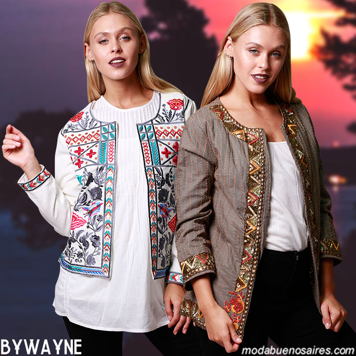 Chaquetas invierno 2019 moda mujer. Sacos y chaquetas bordadas invierno 2019.