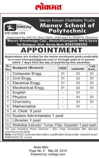 manav school of polytechnic akola wanted lecturer plus hod