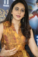 Rakul Preet Singh smiling Beautyin Brown Deep neck Sleeveless Gown at her interview 2.8.17 ~  Exclusive Celebrities Galleries 074.JPG