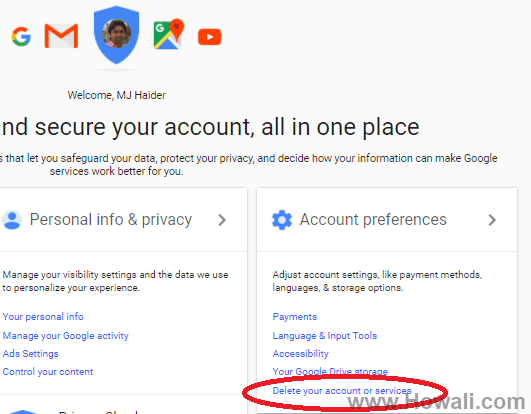 Deactivate Gmail account