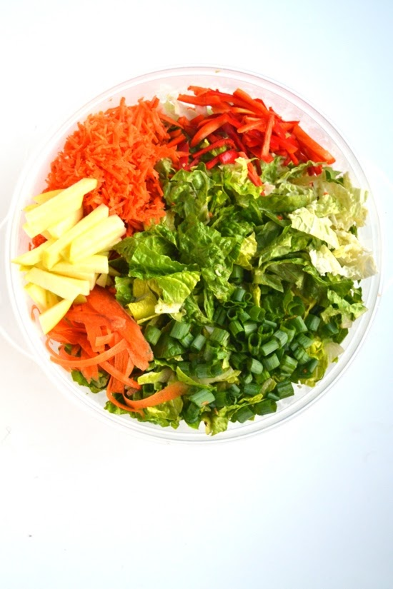 This Asian Chopped Salad is ready in 10 minutes, is packed with nutritious vegetables and is full of flavor with a sweet soy vinaigrette!  www.nutritionistreviews.com