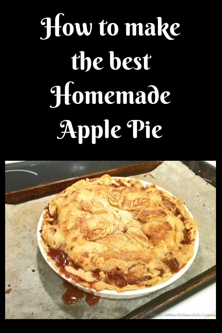 this is a homemade from scratch apple pie baked oozing the filling on parchment paper and leaf cookie cutter dough bake on top for a festive pattern
