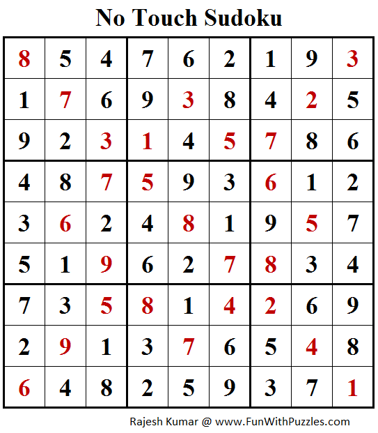 No Touch Sudoku (Daily Sudoku League #159) Solution