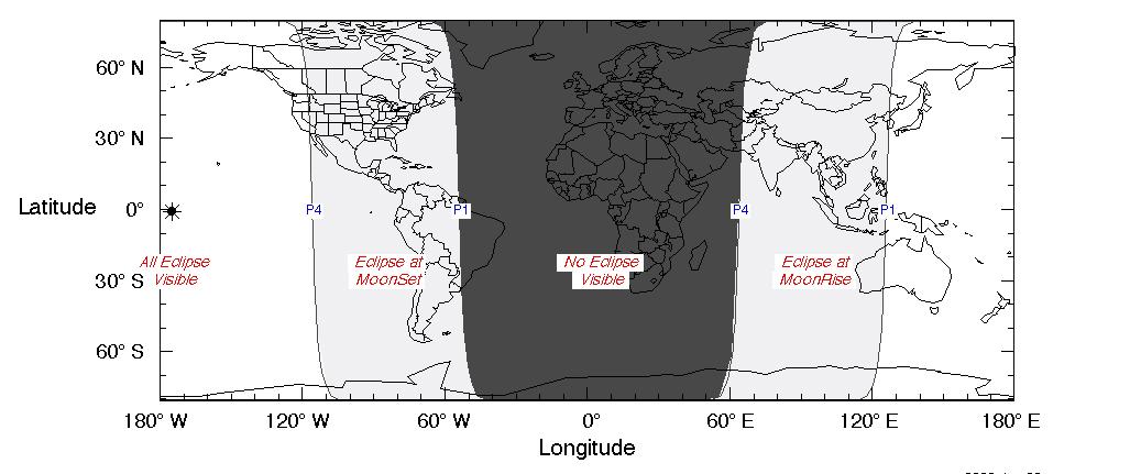 Esta gráfica muestra las regiones en las que el eclipse lunar penumbral será visible, si el tiempo lo permite.