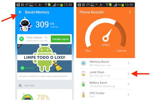 Acessando a limpeza da lixeira do Android com o aplicativo Super Booster Clean Boost
