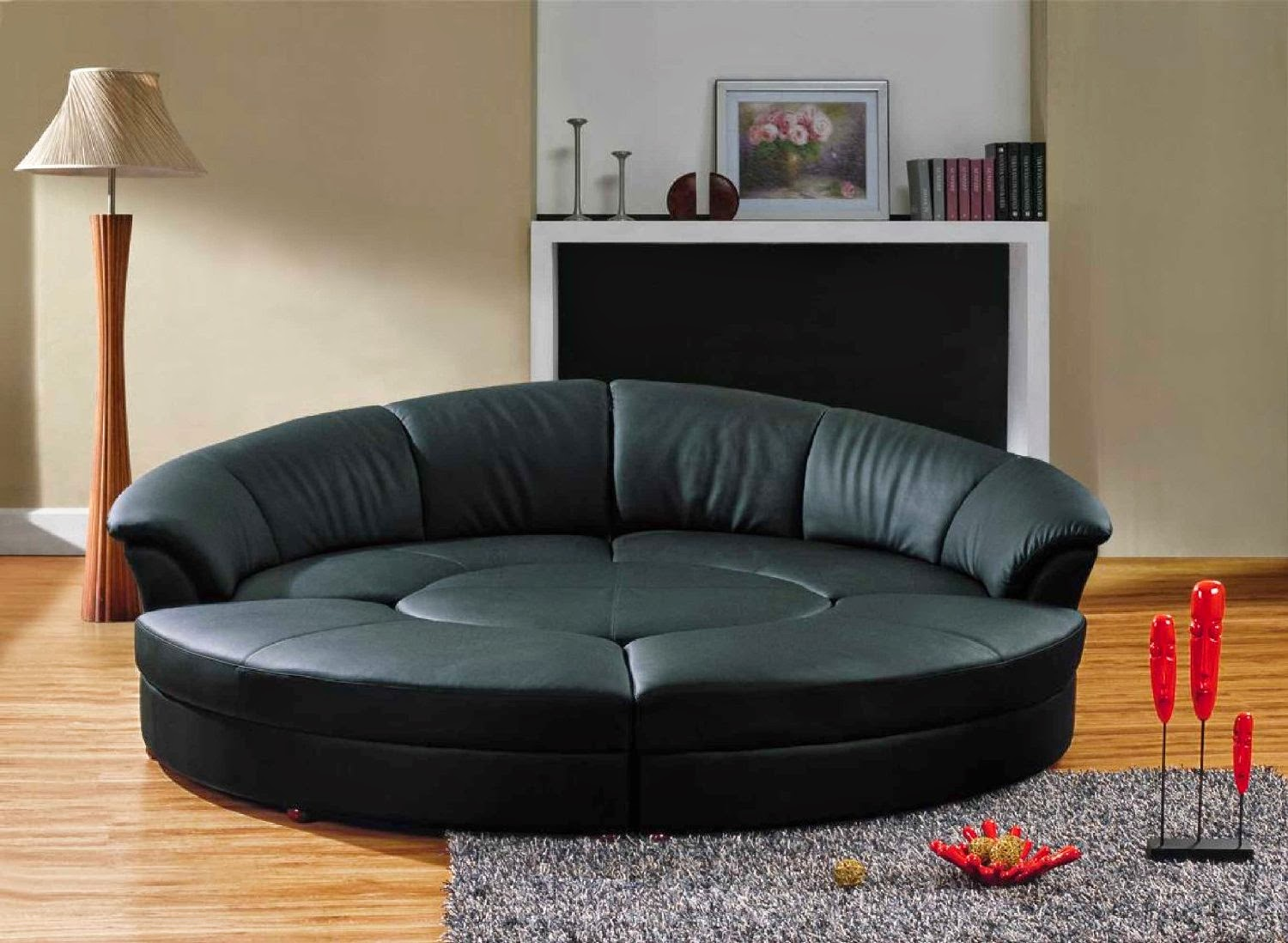 Modern Black Leather Circular Sectional Sofa Circle