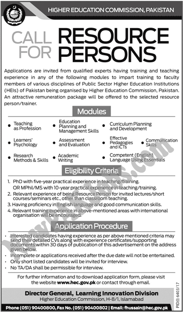 HEC Jobs Call for resource Persons, Higher Education Commission