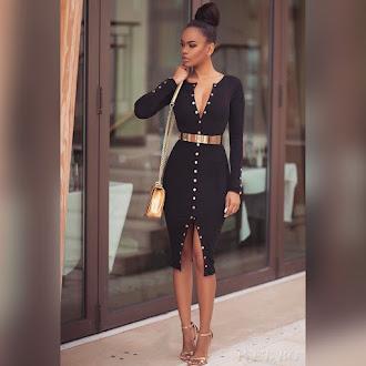 Μακρυμάνικο μεσάτο μίντι μαύρο φόρεμα DEANDRA BLACK