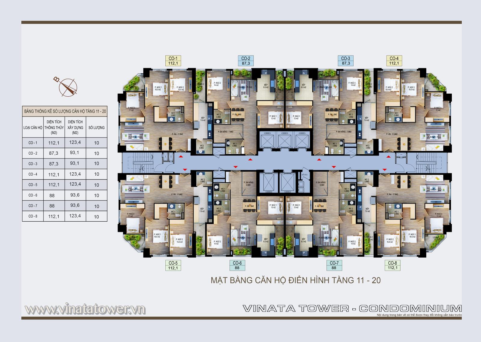 Mặt bằng điển hình tầng 11 - 20 chung cư vinata