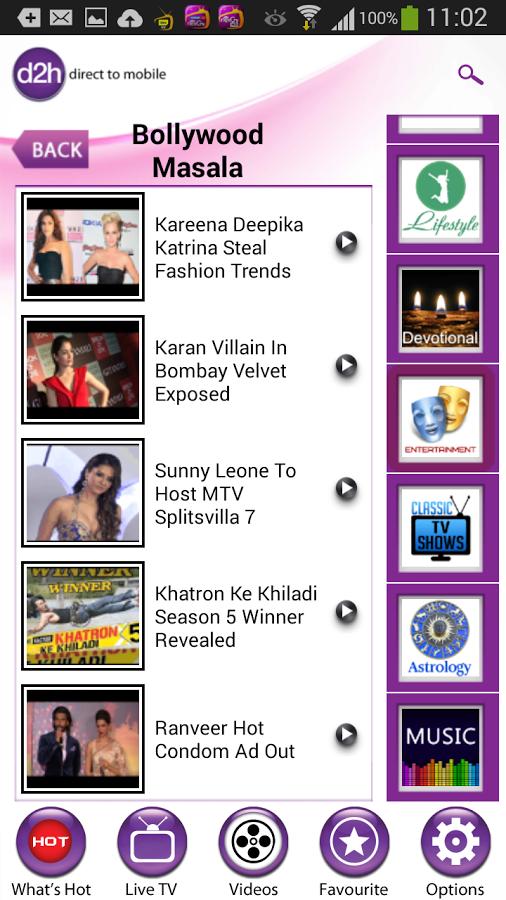 BharathDTHGuru: Videocon d2h Pocket TV Android App