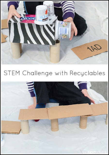 STEM challenge for kids using recyclables - a perfect Earth Day activity from And Next Comes L