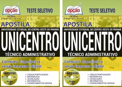Apostila concurso Unicentro Paraná 2017- Técnico Administrativo