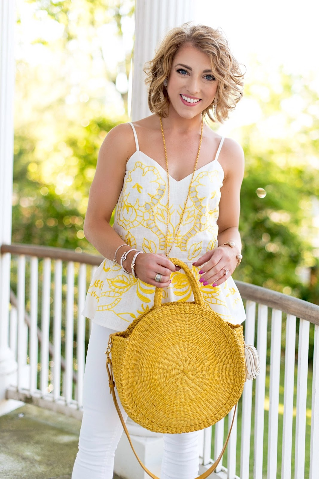 Yellow Details Cutwork Cami (Under $60) + Clare V. Alice Bag - Something Delightful Blog