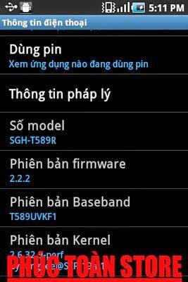 Tiếng Việt Samsung t589r 2.2.2 alt
