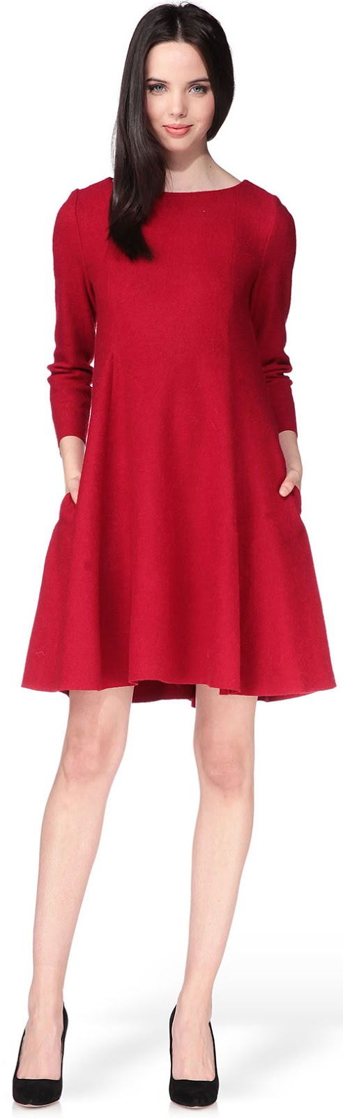 Robe courte rouge en laine Cacharel
