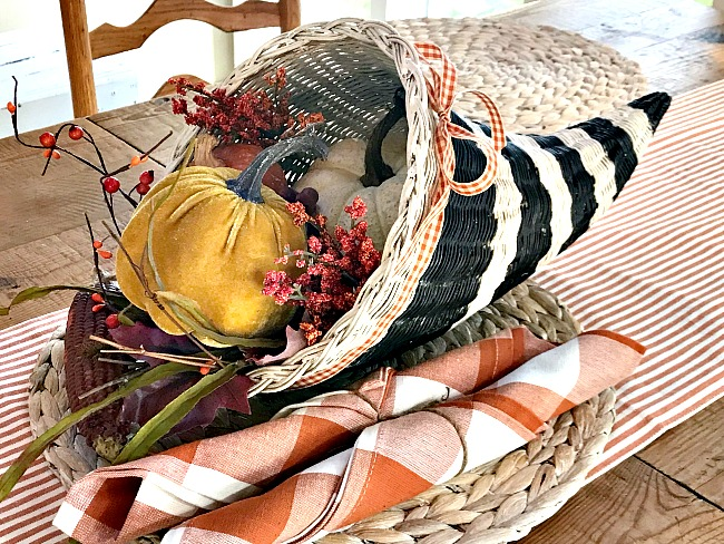 DIY pumpkin filled striped cornucopia for Thanksgiving. Homeroad.net