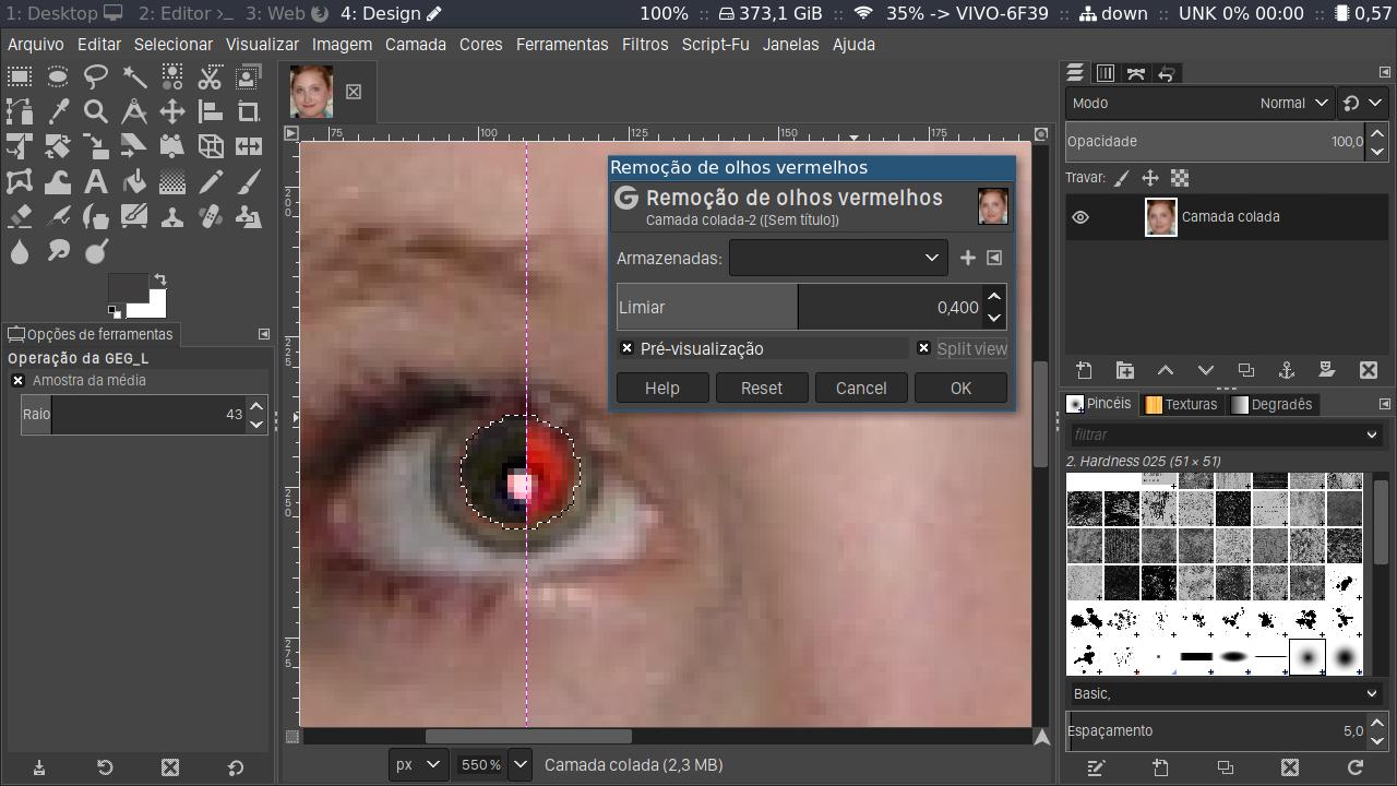 Configurando o Filtro Remoção de olhos vermelhos