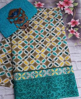 Kain Batik dan Embos 381 motif Kawung warna Hijau Tosca