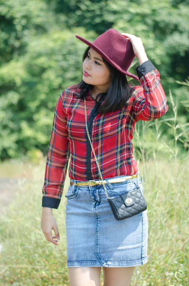plaid blouse and mini denim skirt