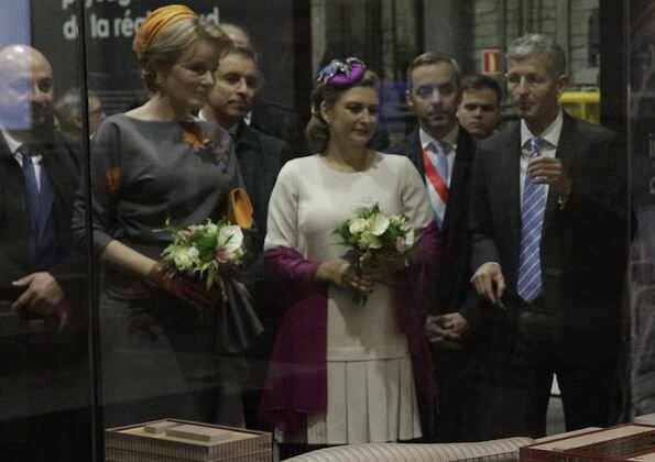 Queen Mathilde wore a grey Natan dress, Hereditary Grand Duchess Stephanie, Princess Stephanie, wore a white print dress by Armani