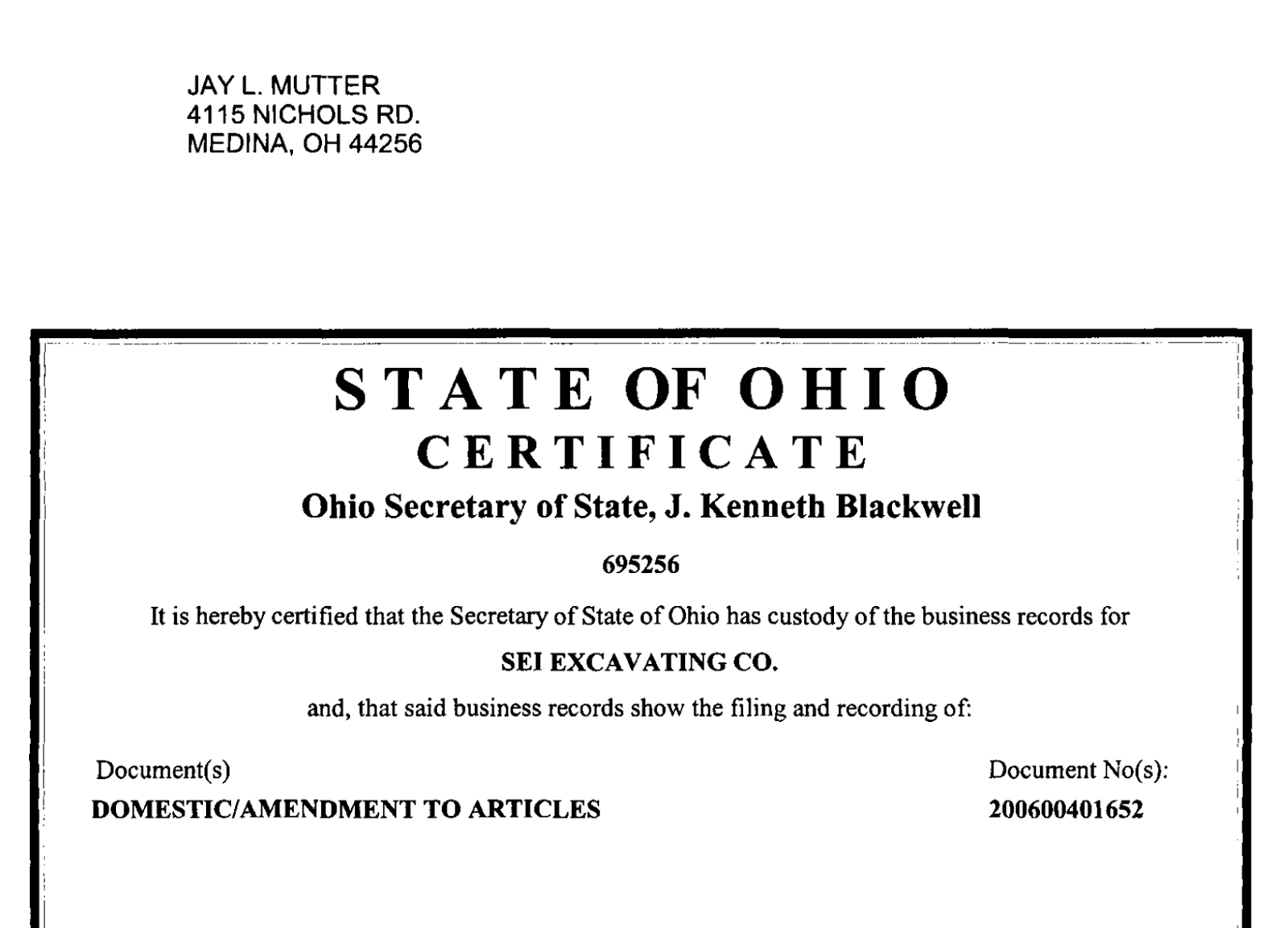 Medina corruption all the news thats fit to print but wasnt readers merit one more look at the certificate of incorporation issued to sei excavating inc on december 27 2005 by the ohio secretary of state xflitez Images