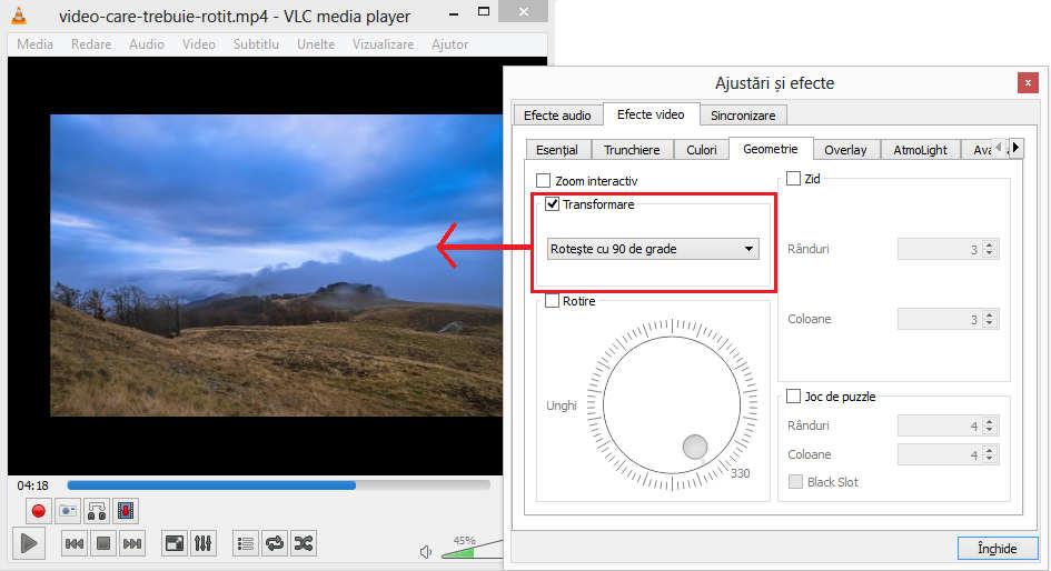 Transformarea imaginii prin rotire în VLC