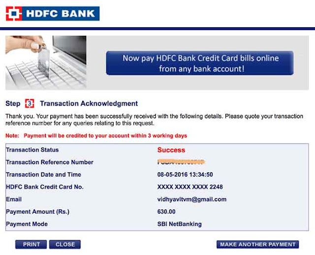 transfer amount to Credit card
